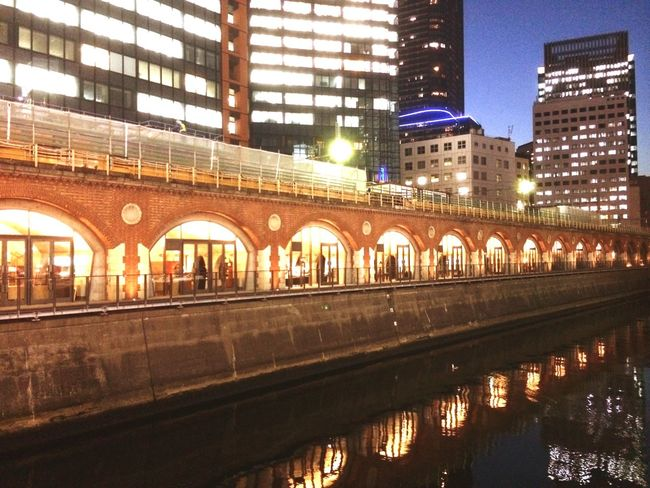 Renovated bridge . So modern and gorgeous . Bridges Night Lights Water Reflections Streetphotography