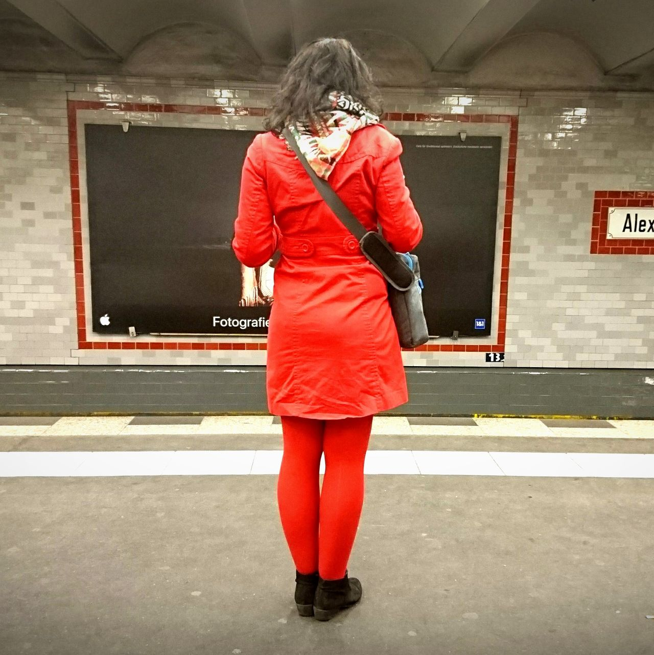 Red One Person Women People One Woman Only Red Coloured Waiting