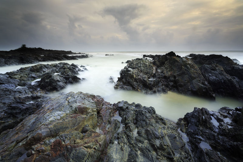 Mystical Pandak Beauty In Nature Cloud - Sky Day Horizon Over Water Long Exposure Motion Nature No People Outdoors Power In Nature Rock Rock - Object Rock Formation Scenics Sea Sky Tranquil Scene Tranquility Water