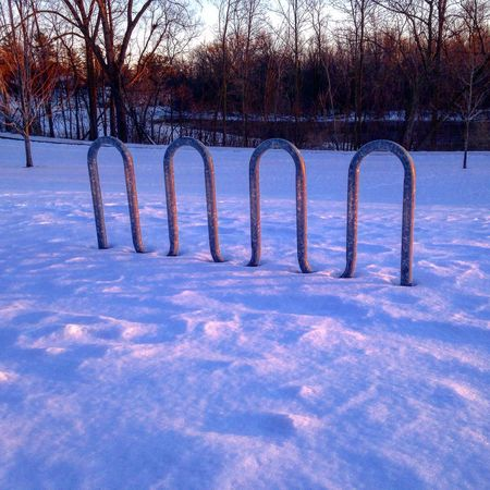 Dusk Bikerack Bike Rack Shadows Winter Snow Cold Pattern Pieces TakeoverContrast