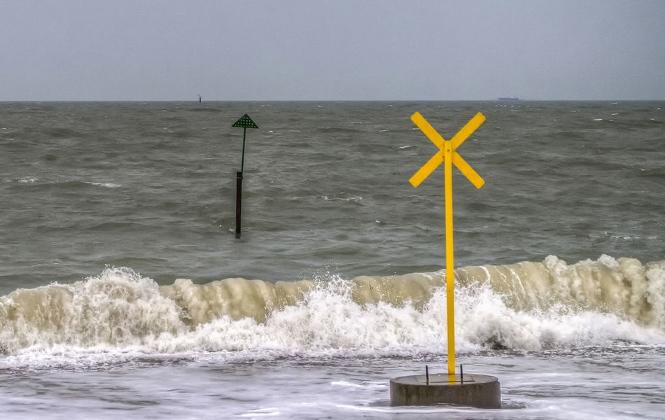 Yellow cross Water Sea Nature Outdoors No People Sky England Hampshire  Portsmouth Southsea Beauty In Nature Horizon Over Water Yellow Cross Yellow Cross