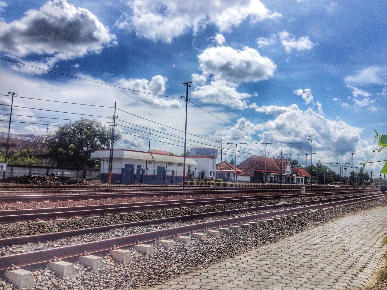 sky, transportation, railroad track, rail transportation, cloud - sky, day, outdoors, no people