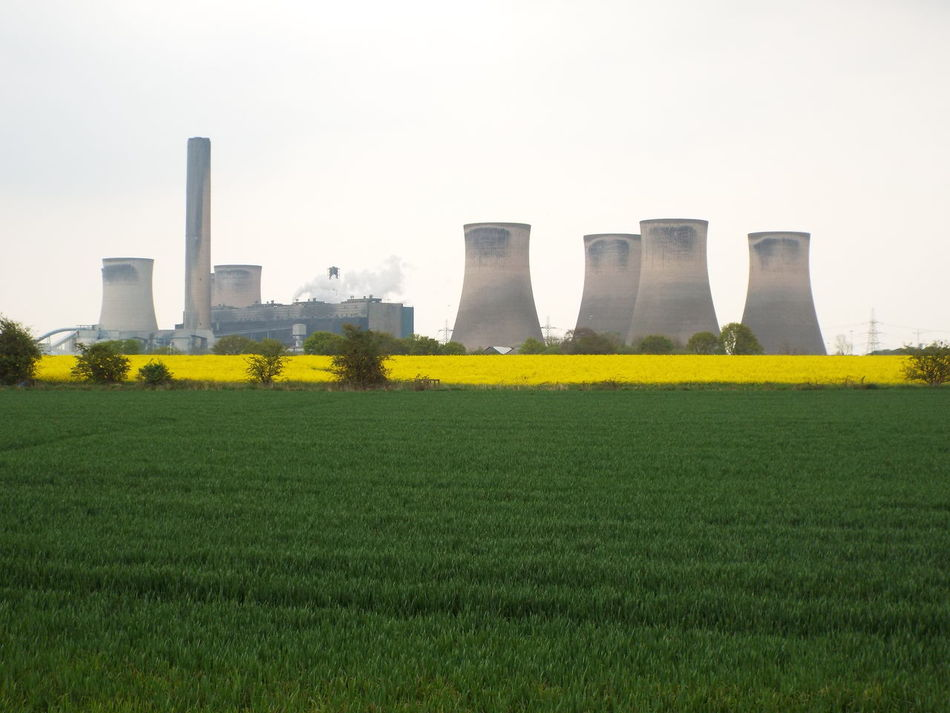 Fiddlers Ferry Power Station Fiddlers Ferry Power Station Chimneys Rapeseed Blossom Rapeseed Field Nature Vs. Industry Industry Vs Nature Sky - Clouds Farmers Field Green Yellow Grey Sky Grey Industry Pollution Nature Vs Pollutants Smoke