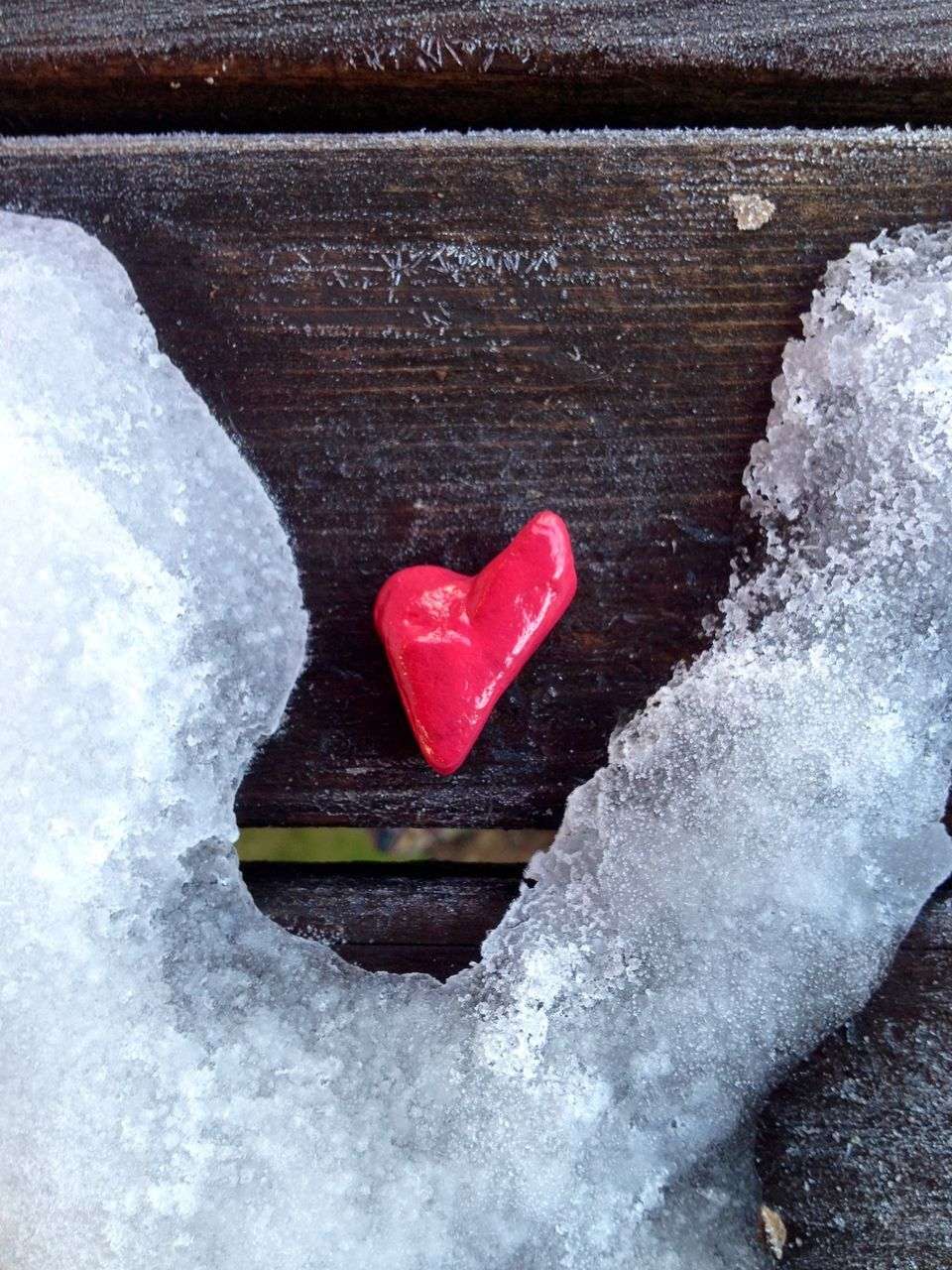 heart shape, love, red, white color, valentine's day - holiday, nature, no people, snow, day, close-up, beauty in nature, water, outdoors