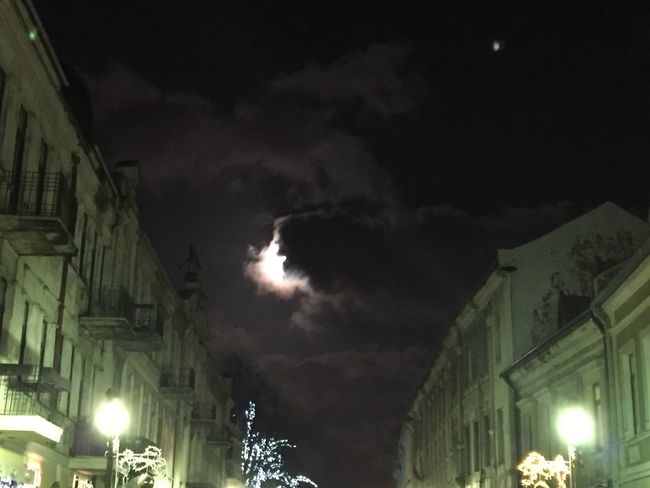 """""""the cloud is going to eat the the moon"""" The photo was taken in the Old Town in Kaunas, Lithuania. Very unique place! My home town. Oldtown Cloudy"""