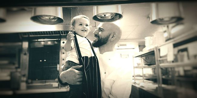 Visisting Daddy at work Modern Father Father & Son Hanging Out That's Me Thats My Boy  Wonder Happiness Work Life Balance Happy People Happy Boy Chef Kitchen Life