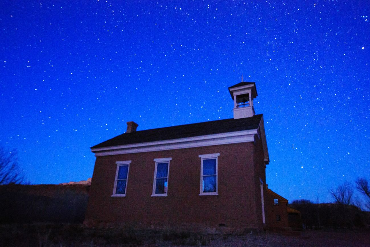 The old church Grafton Ghost Town Utah Stars Starscape Night Photography Night Sky Landscape Zion National Park Ghost Town Churches Church Architecture Stars At Night Galaxy Scenics Constellation Space Astronomy Night Sky Blue