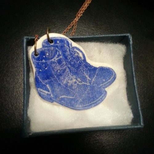 Ceramic blue necklace in store for €28 Ceramicnecklace Ceramicboots Boots Stoneware