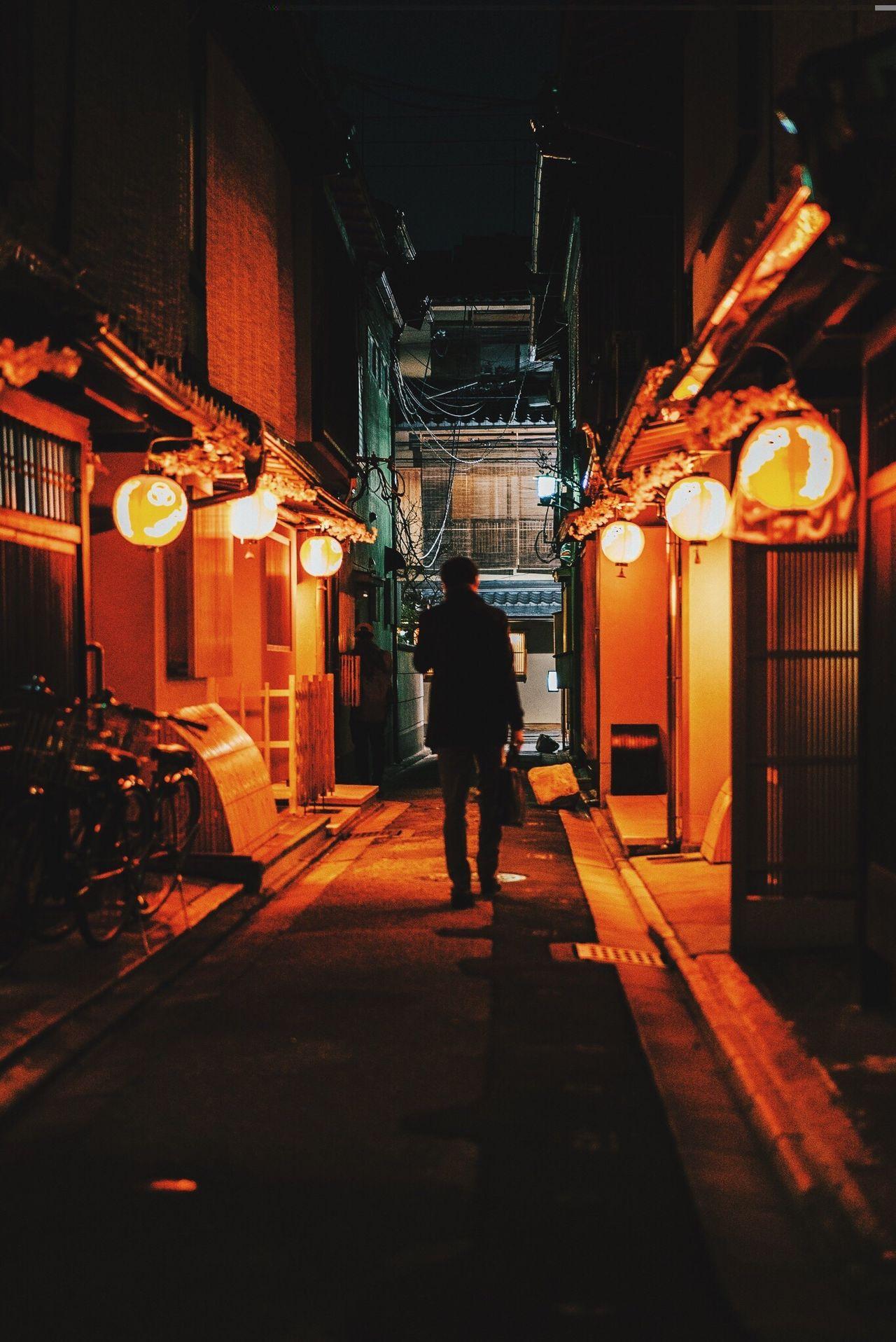 Kyoto, Japan 2017 Illuminated Rear View One Person Men Kyoto, Japan Lanterns Traditional