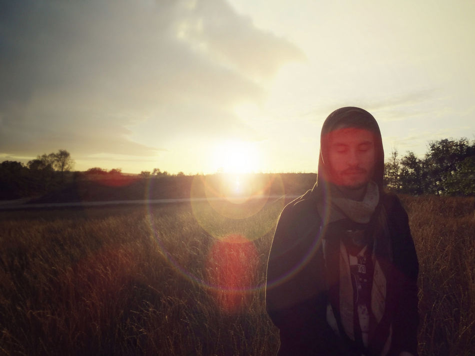 Beauty In Nature Boy Cap Cloak Corn Crop  Dream Field Hood Landscape Leisure Activity Lens Flare Lensflare Lifestyles Looking Man Mood Nature Outdoors Real People Scarf Sky Standing Sunset Wheat TCPM Art Is Everywhere