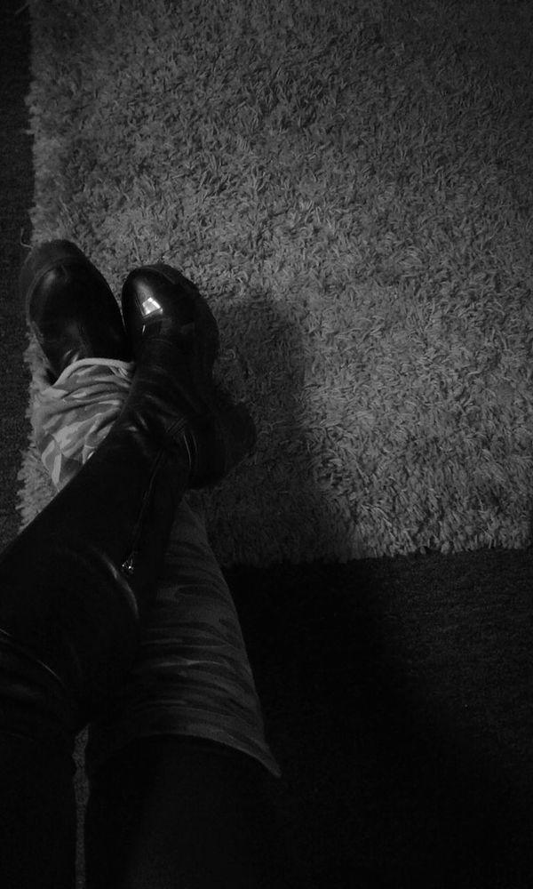 Human Body Part Indoors  Shadow Legs Feet Relaxing Shag Rug Black And White Streetwear Punkrock Black & White Boots Leggings Womans Legs Taped Up EyeEmNewHere