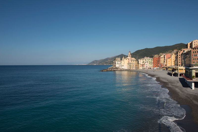 Sea Clear Sky Water Architecture Blue Copy Space Tranquil Scene Built Structure Nature Scenics Mountain Building Exterior Outdoors Travel Destinations Tranquility Day No People Beauty In Nature Beach Sky Maritime Italian Countries Bright And Colorful Day Camogli Italia Blue Sky No Clouds Camogli chiama il sole