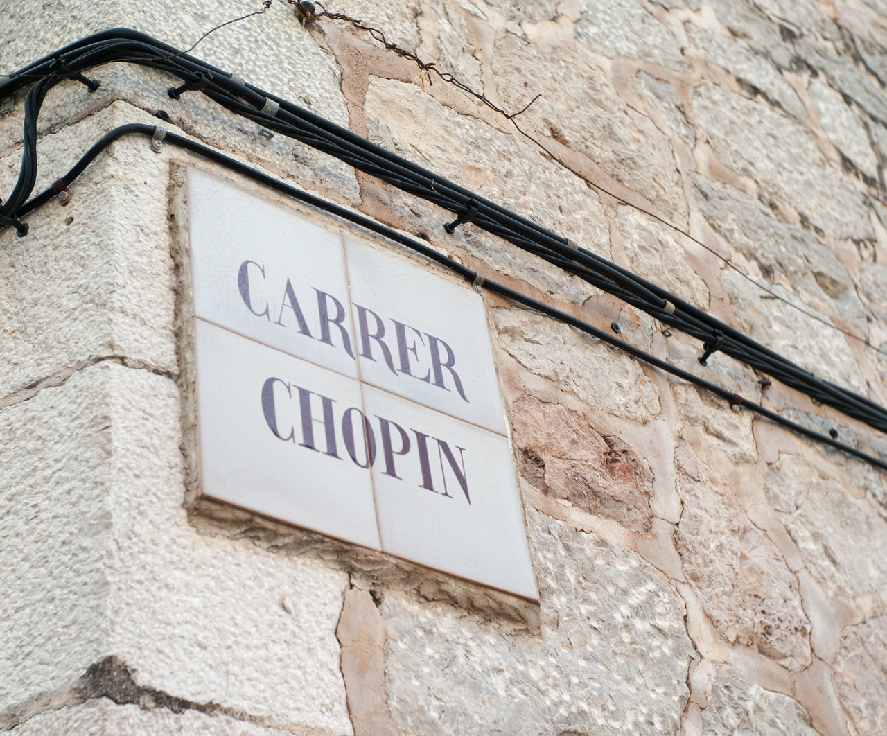 Carrer Chopin in Valldemossa on Mallorca island Baleares Balearic Islands Chopin Low Angle View Majorca Mallorca Mediterranean  Sign Street Sign Travel Destinations Valldemossa