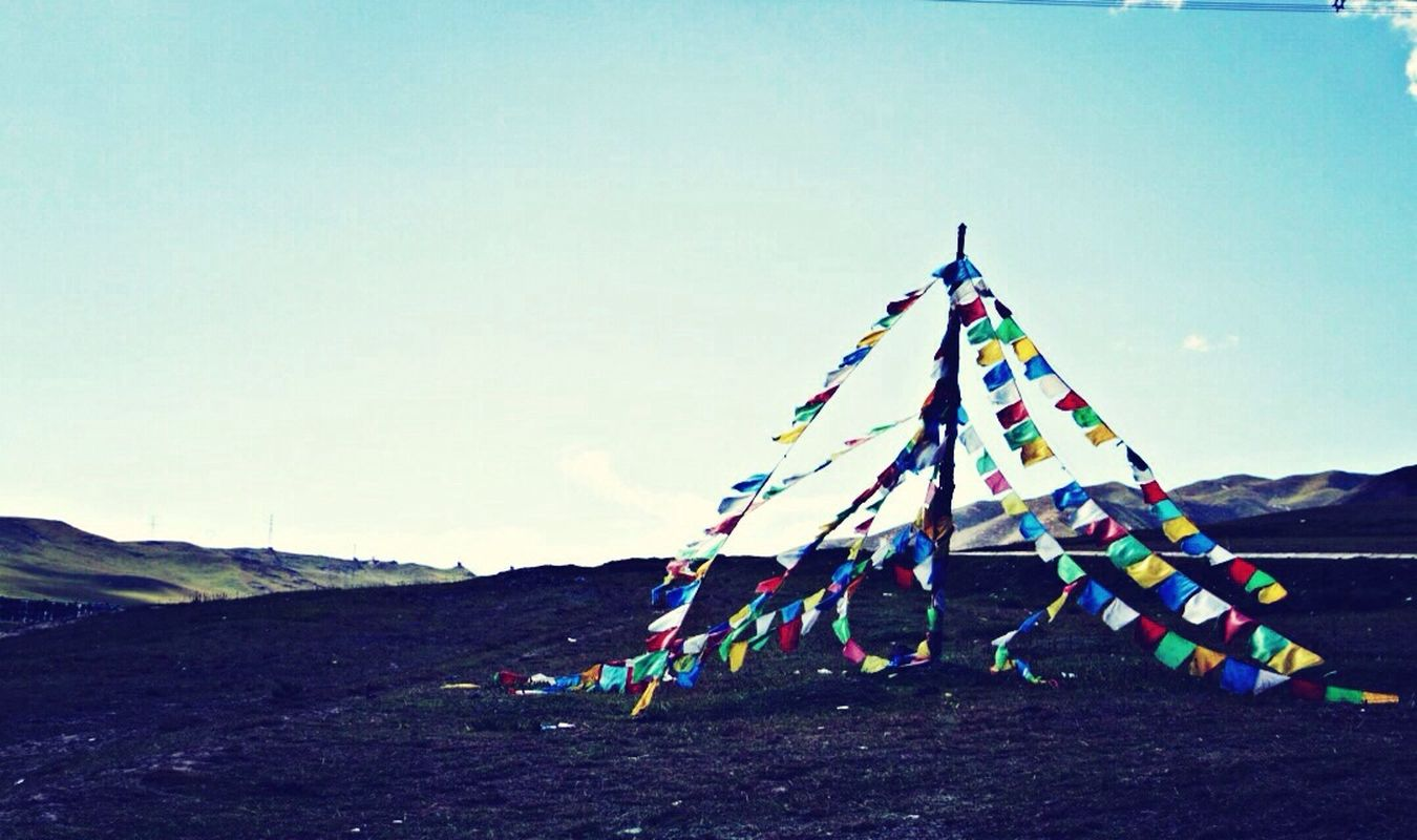 Spell flags in Xining Tibet. Budda Silhoutte