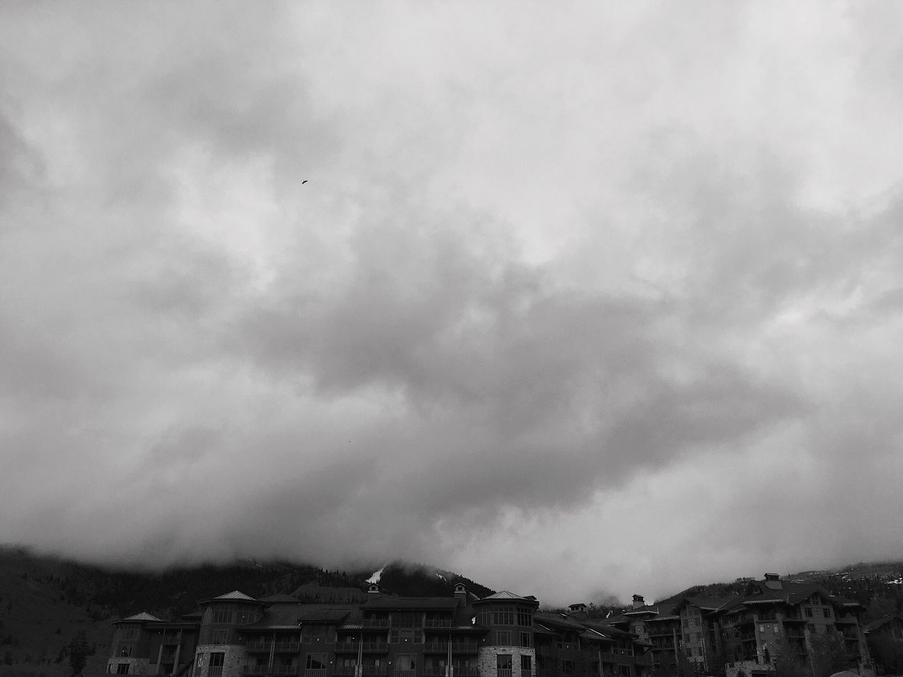 low & heavy clouds this evening. lost mountain tops. Park City, Utah