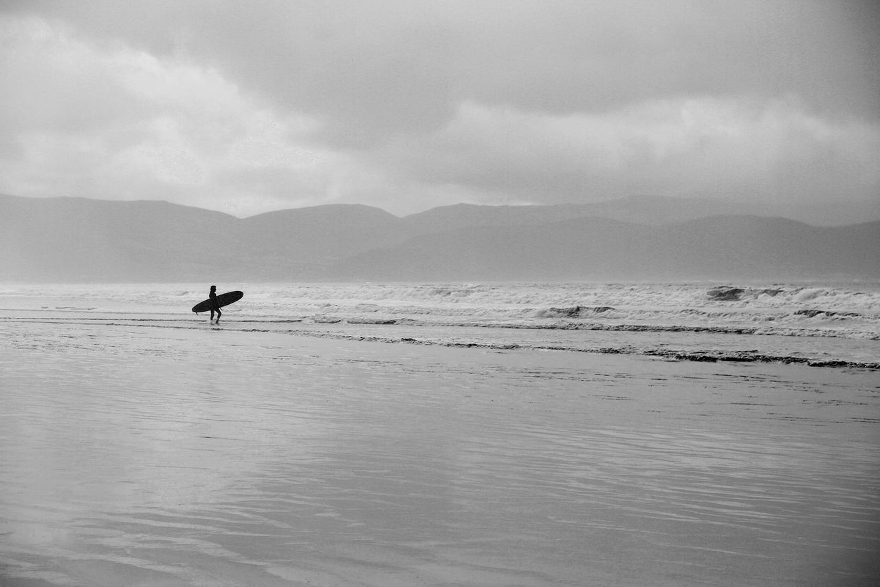 Cold Surfer Adult Adventure Beauty In Nature Blackandwhite Cloud - Sky Day Horizontal Irleand Mountain Nature One Man Only One Person Only Men Outdoors People Scenics Sea Sky Surfer Surfing Tranquil Scene Tranquility Vacations Water Waves