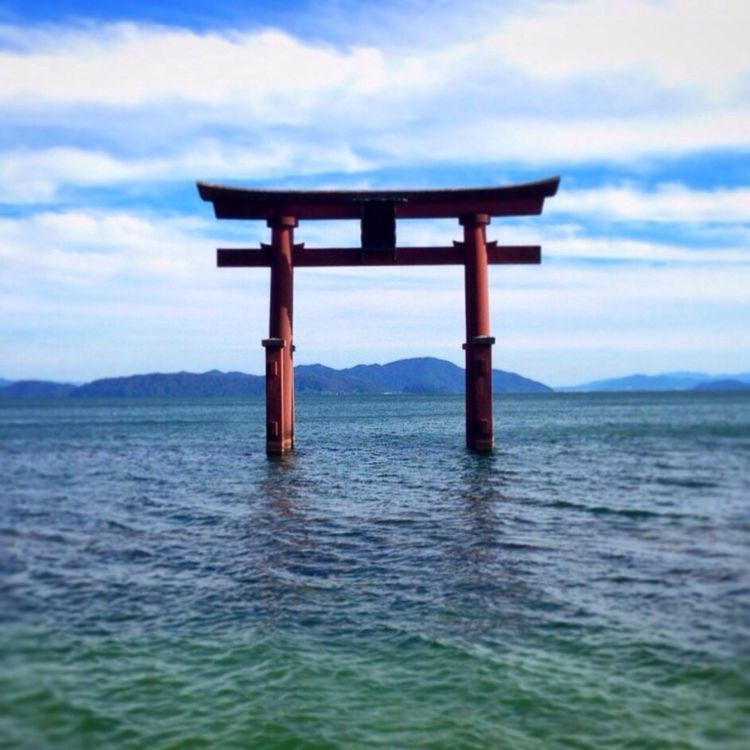 Shrine TORII Lake Blue Sky Shiga Kyoto Japan