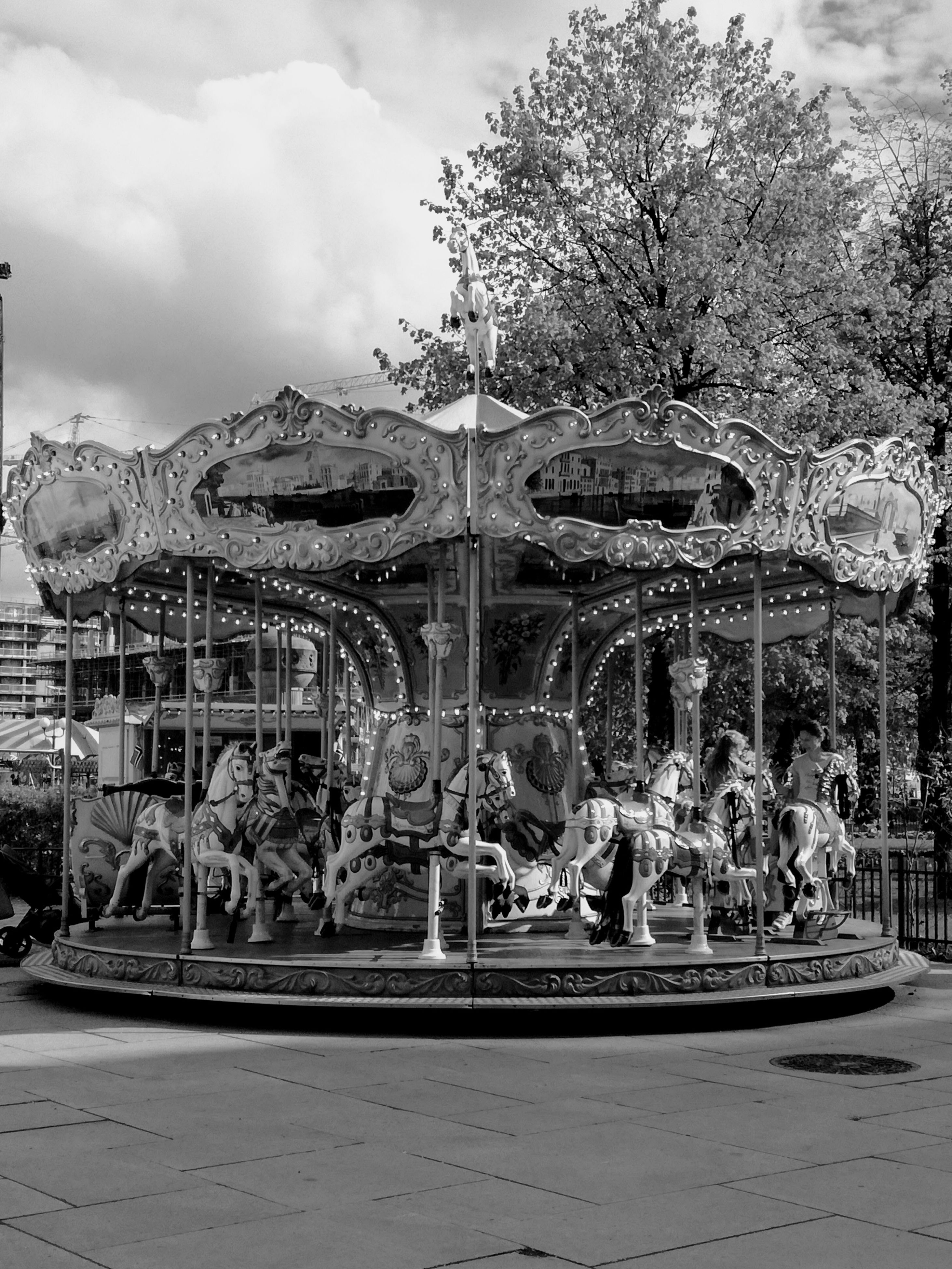 amusement park, arts culture and entertainment, carousel, amusement park ride, carousel horses, leisure activity, enjoyment, merry-go-round, outdoors, sky, day, sitting, tree, no people