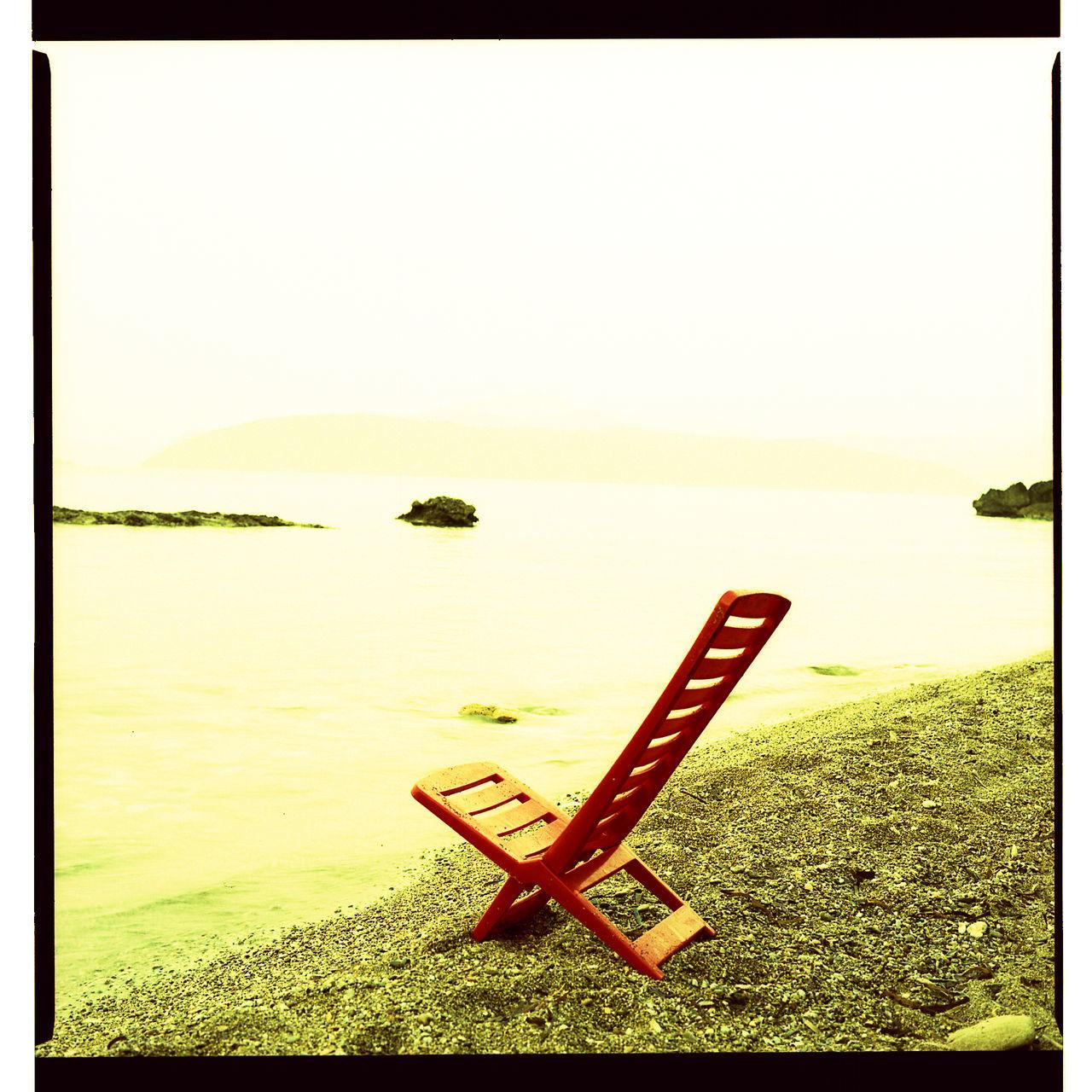 6x6 Beachchair Chair Film Photography Mediterranean Sea Sea Seaside Strange Colors