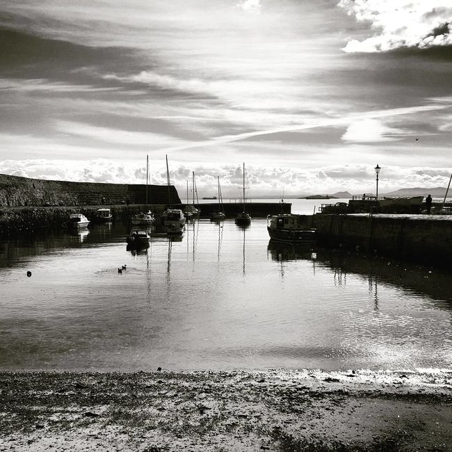 Dysart Harbour Reflection Water Sky Cloud - Sky Outdoors Nautical Vessel No People Boats Harbour Dysart Fife  Fife Coastal Path Fife Scotland Scotland Blackandwhite Black And White Blackandwhite Photography B&w EyeEmNewHere
