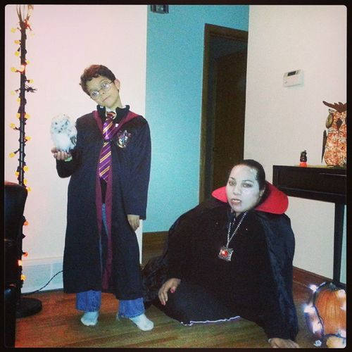 My brother as Harrypotter with a fake owl and me as a Vampire Happyhalloween October31 Halloween instalike S3 Samsung Galaxy