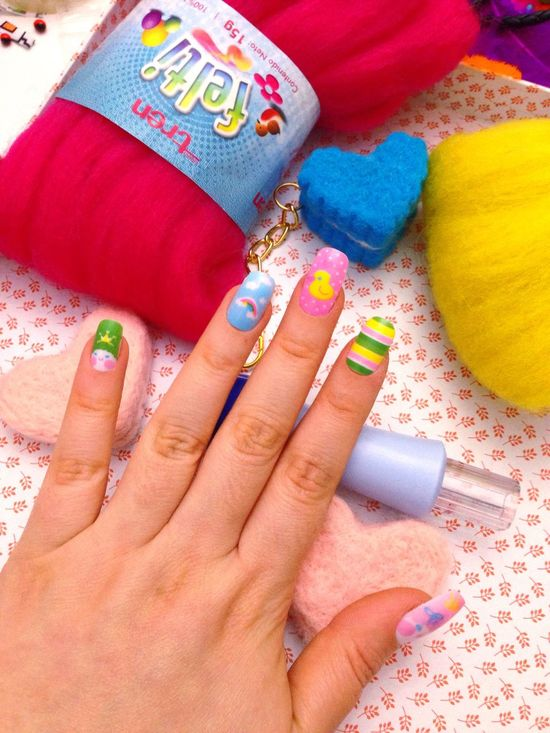 Pretty nails = beautiful needle felting💖💖💖 Laviniafenton KAWAII Needlefelting Colorful Cute Manicure First Eyeem Photo Eye4photography  Mystyle Handmade Etsy Studio