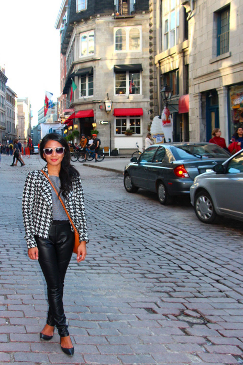 Architecture Built Structure Casual Clothing City City Life City Street Day Faux Leather Full Length Jacket Land Vehicle Leisure Activity Lifestyles Mode Of Transport Montreal, Canada Ootd Outdoors Portrait Road Street Sunglasses Warm Clothing Myself Me Women Around The World