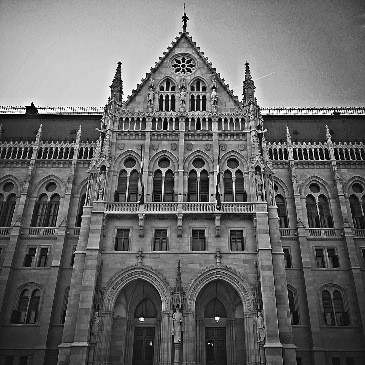 Architecture Black And White Budapest Building Exterior Built Structure Church Famous Place History Hungary Low Angle View Orszaghaz Parlament Parliament Place Of Worship Religion Sky Travel Destinations