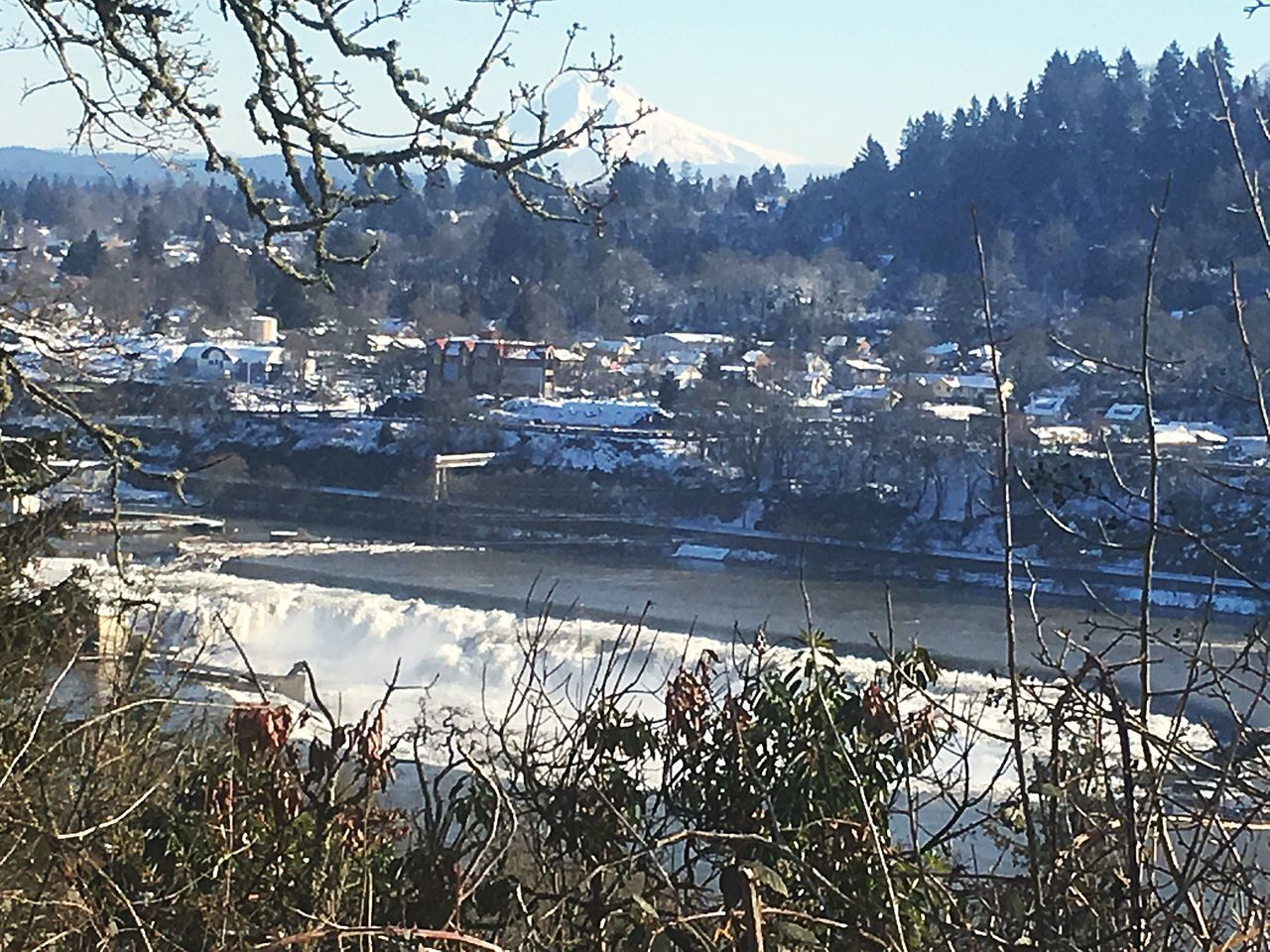 Beautiful Willamette Falls and Oregon City with Views of Mt. Hood  on I205 in Portland, OR