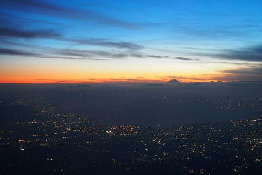 Mt.Fuji Aeroplane Window Dusk Night Fall Sunset Japan Beautiful Nature City Lights
