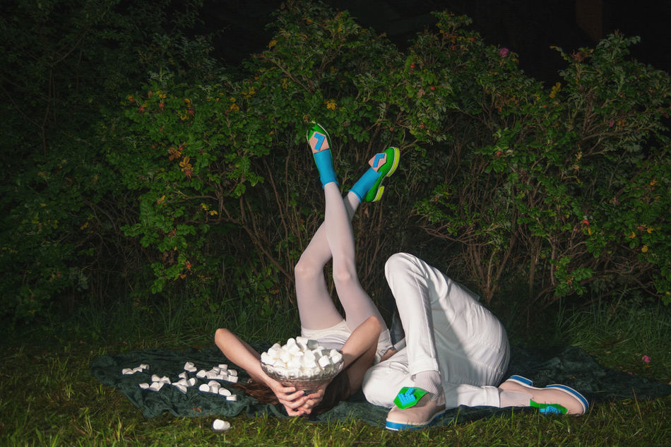 I've been waiting for you the whole week. It's time to play Beauty Bushes Couple Fashion Flirt Green Linas Was Here Marshmallows Model Night Picnic Shoes White