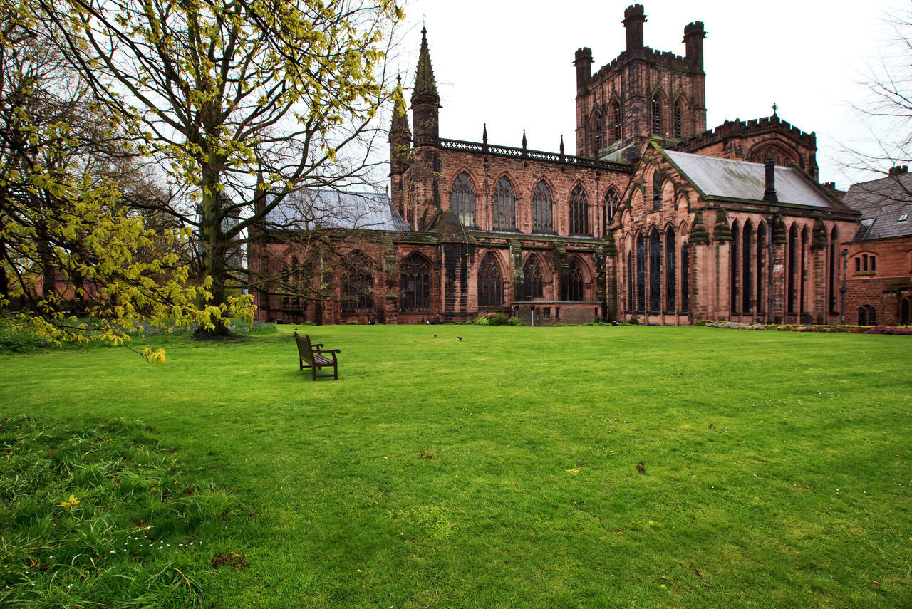 View to Chester Cathedral - one of the most visited place in Chester, Cheshire, UK Architecture Britain British Building Exterior Built Structure Cathedral Cheshire Chester Day Eye4photography  EyeEm EyeEm Gallery Grass Historical Building History Nature No People Old Old Buildings Outdoors Sky TOWNSCAPE Travel Destinations Tree Uk