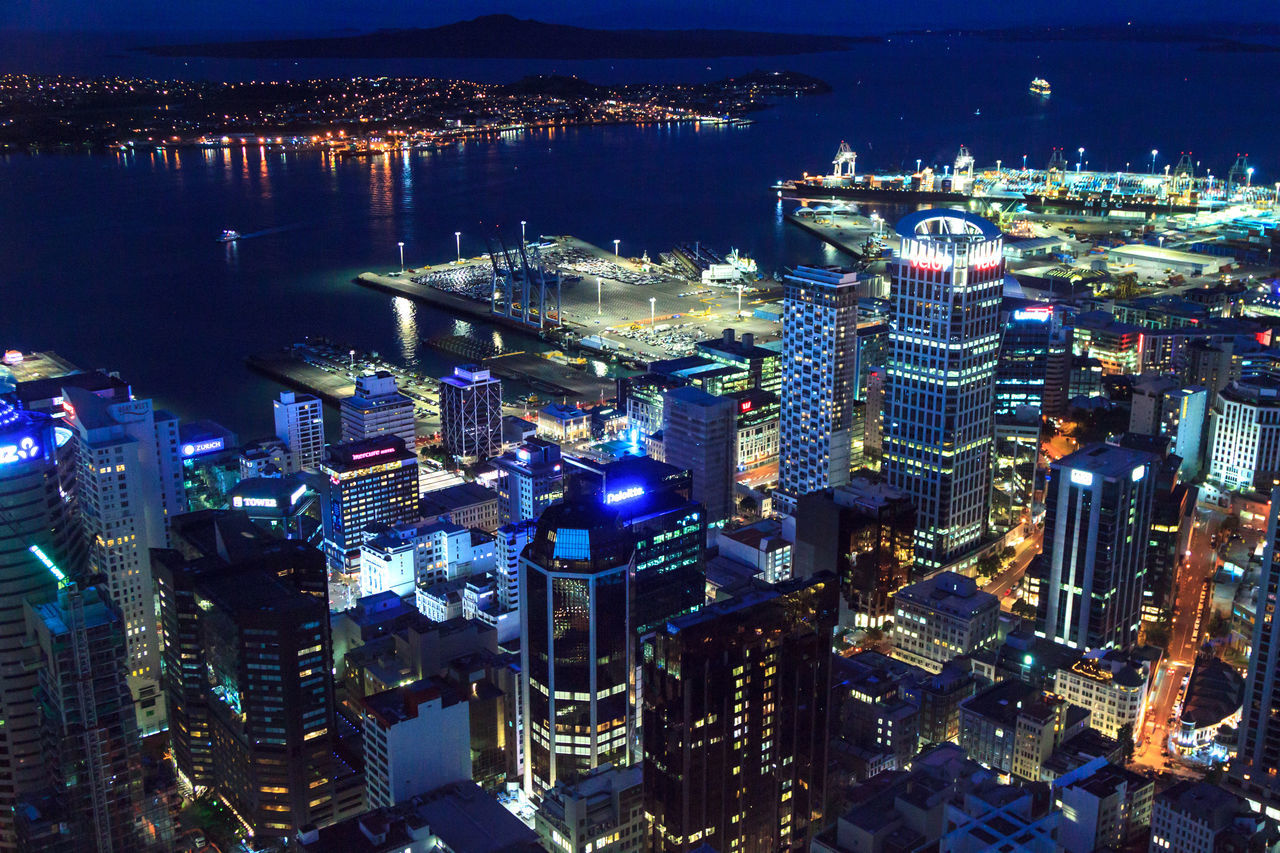 Auckland city view at dusk Aerial View Architecture Building Exterior Built Structure City Cityscape Eye4photography  EyeEm Best Shots High Angle View Illuminated Modern Night No People Outdoors Sky Skyscraper Travel Destinations