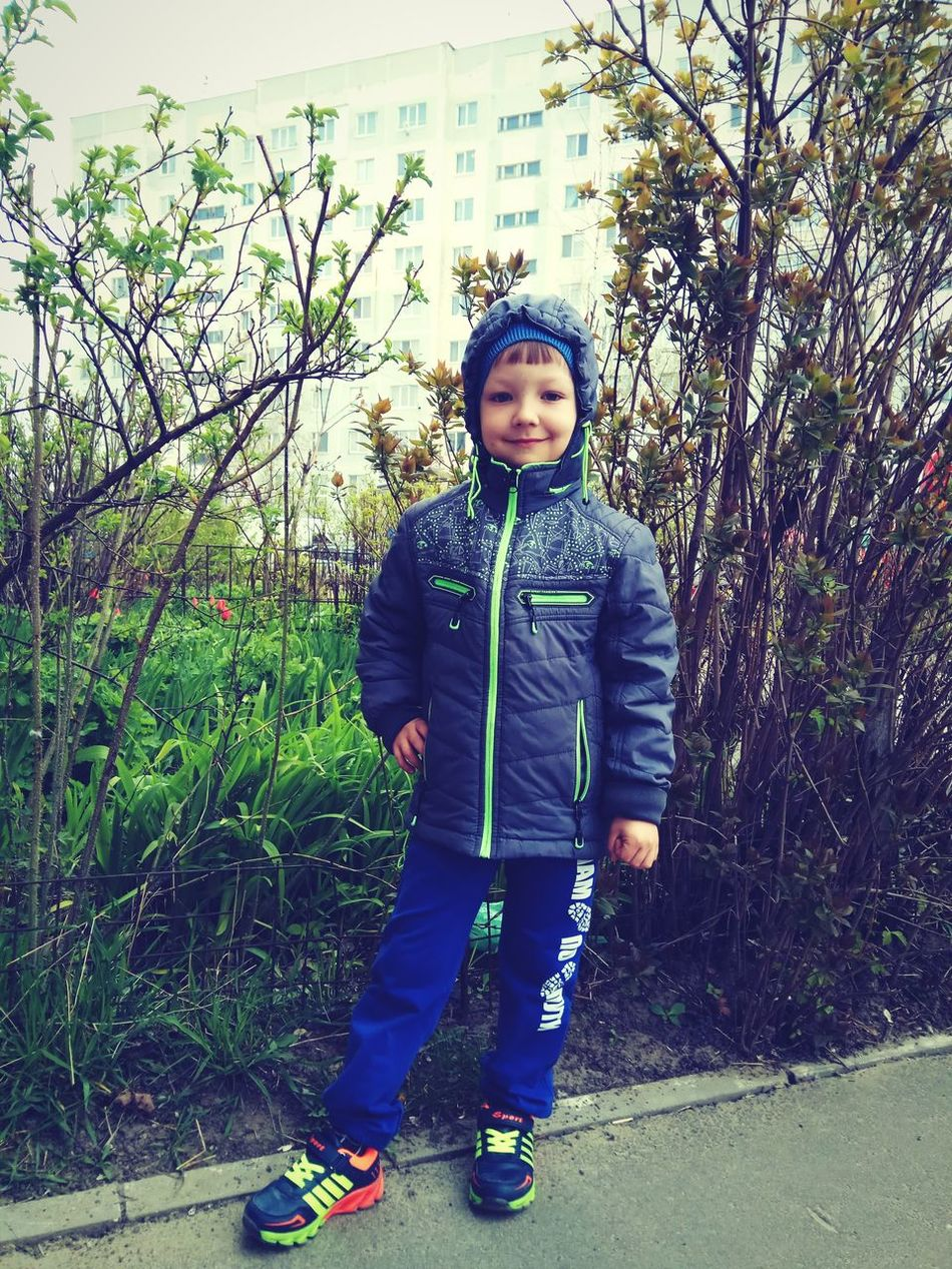 Full Length Childhood Front View Child Looking At Camera Casual Clothing One Person One Boy Only Portrait Males  Standing Day Boys Children Only Outdoors People Tree Adult