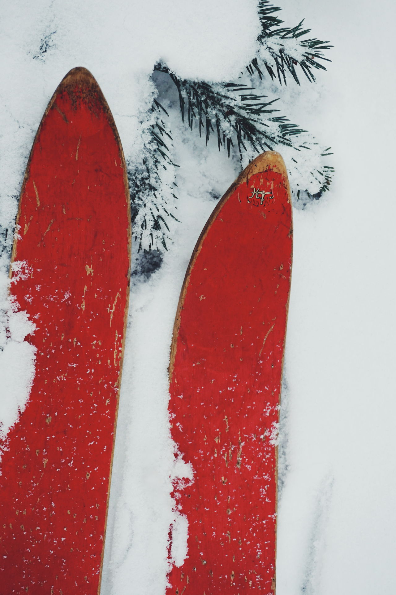 old wooden ski in the snow Red Vibrant Color Close-up Outdoors Snow Skiing Ski Winter_collection Winterscapes Wintertime Snowfall Winter Wonderland Snow Covered Cold Temperature Christmas Memories Vintage Wooden Ski Winter White Background No People Red Childhood Old Ski Holiday - Event The Great Outdoors - 2017 EyeEm Awards