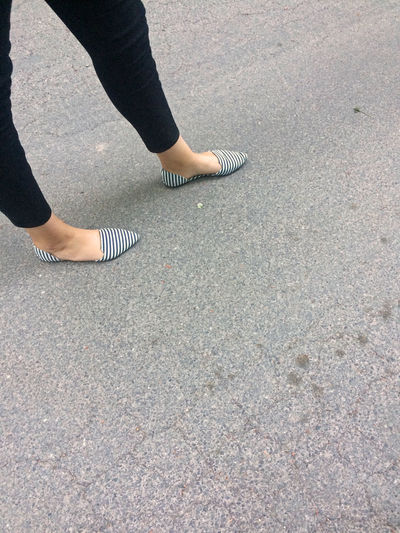Day High Angle View Human Body Part Human Leg Low Section On My Way One Person Outdoors Real People Schoes Standing Street Summer Shoes  Walking Women