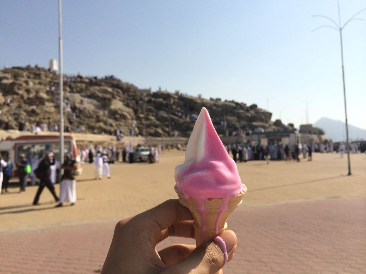 Clear Sky Day Focus On Foreground Food Food And Drink Frozen Food Holding Human Body Part Human Hand Ice Cream Ice Cream Cone Incidental People Leisure Activity One Person Outdoors Personal Perspective Real People Sky Sweet Food Women