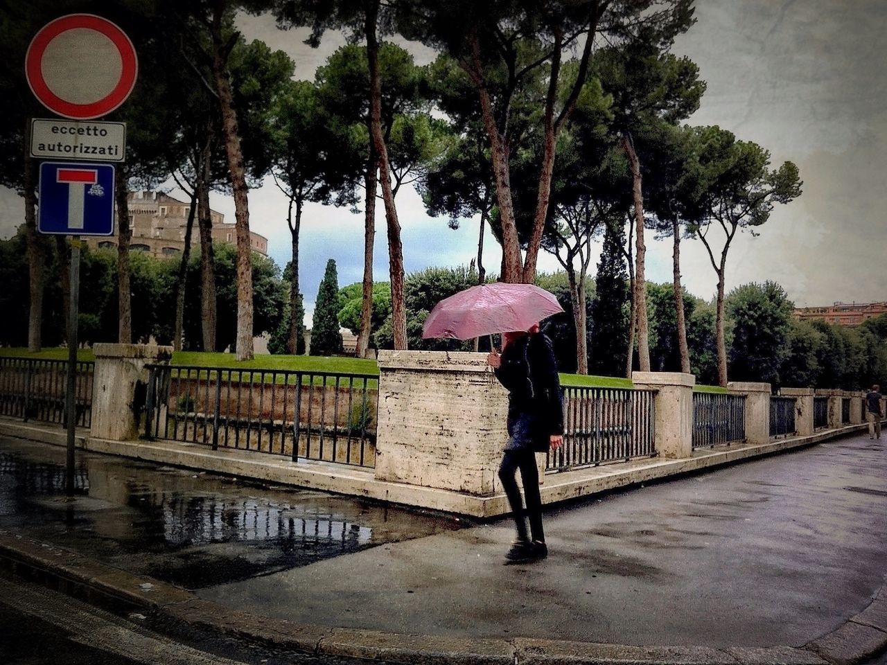 Castel Sant'Angelo City Life Day Direction Full Length Incidental People Italy Lifestyles Outdoors Perspective Pink Umbrella Place Protection Rain Real People Rome Street The Way Forward Trees Umbrella Walking Women