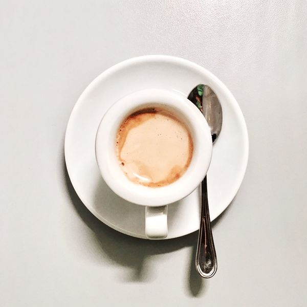 Coffee Cup Drink Coffee - Drink Refreshment Food And Drink Still Life High Angle View Saucer Directly Above Table Freshness Cup No People Frothy Drink Serving Size Close-up Indoors  White Background Cappuccino Food Paint The Town Yellow