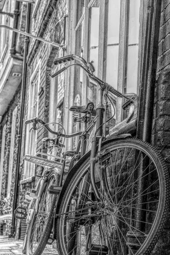Blackandwhite Norwich Land Vehicle Bicycle Or Two Taking Photos Nikon D3300 Dramatic Edit Old Part Of My City No People Mode Of Transport Pavement Outside Shop Window
