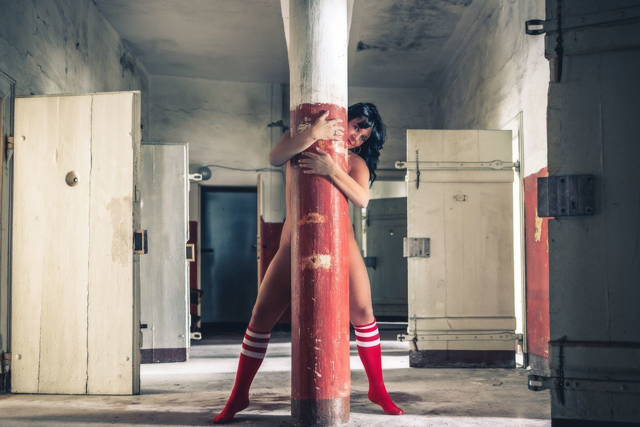 Prison Pole Dancing 😉 Faces Of EyeEm Looking At Camera Sexyselfie Selfiequeen Woman Portrait Women Beauty Portrait Of A Woman Women Of EyeEm Beauty Of Decay Urbexphotography Abandoned Abandoned Places Fine Art Photography The Portraitist - 2017 EyeEm Awards Lostplaces