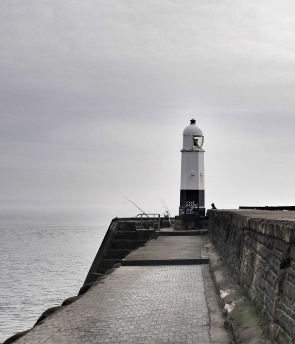 Lighthouse Architecture Horizon Over Water Sea Porthcawl Wales