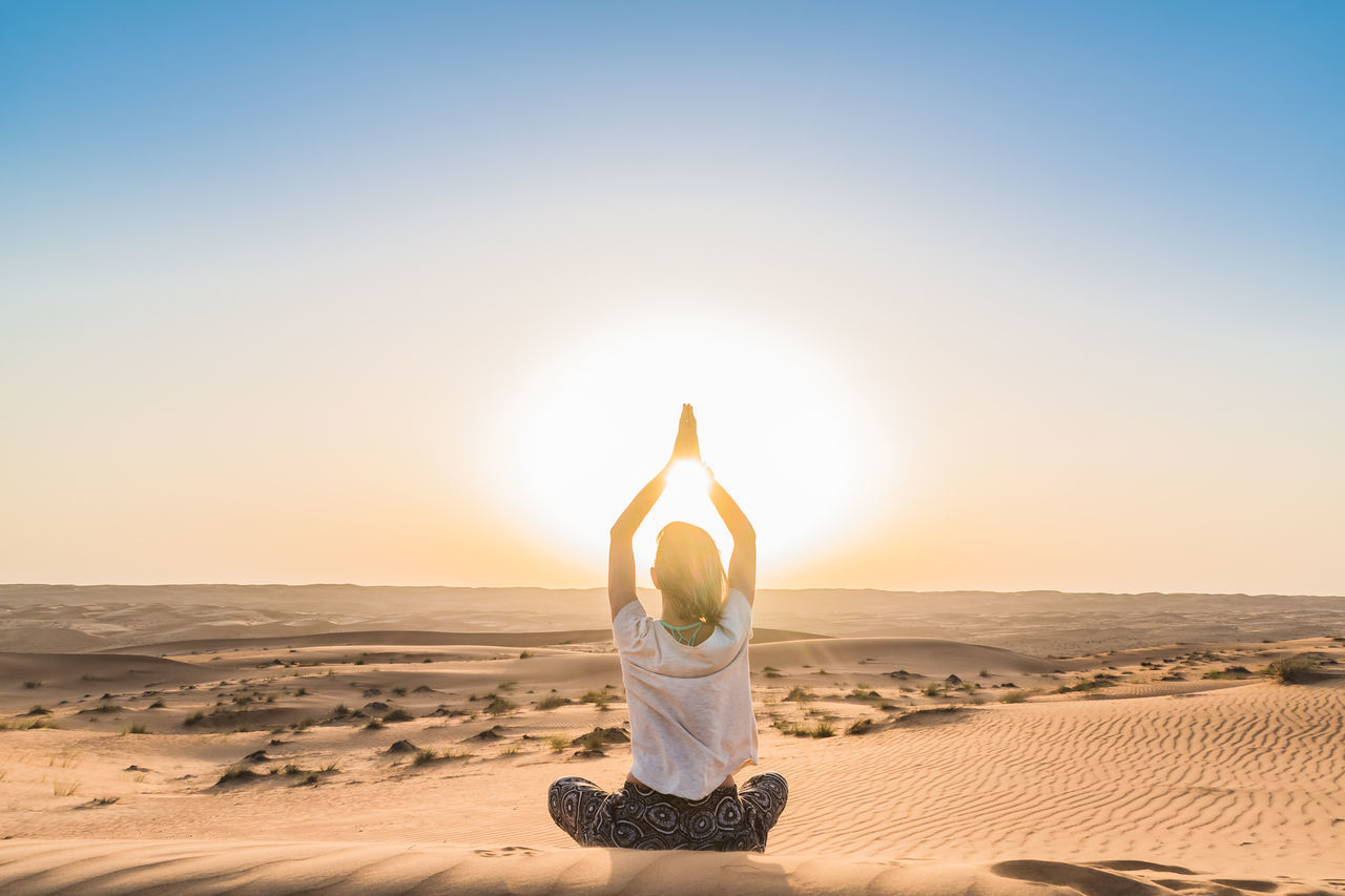 Beauty In Nature Calm Desert Desert Exercising Healthy Lifestyle Landscape Meditating Nature Oman Peace Relaxation Exercise Sand Sand Dune Sky Spirituality Sunlight Sunset Tranquil Scene Wahiba Sands Wellbeing Yoga Zen-like Live For The Story