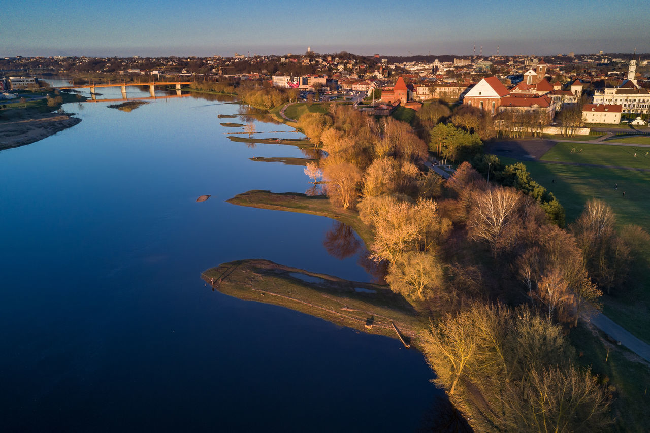 City by the river Aerial Shot City Drone  Europe Lietuva Mavic Mavic Pro Neris Old Town River Riverside Spring Sunset