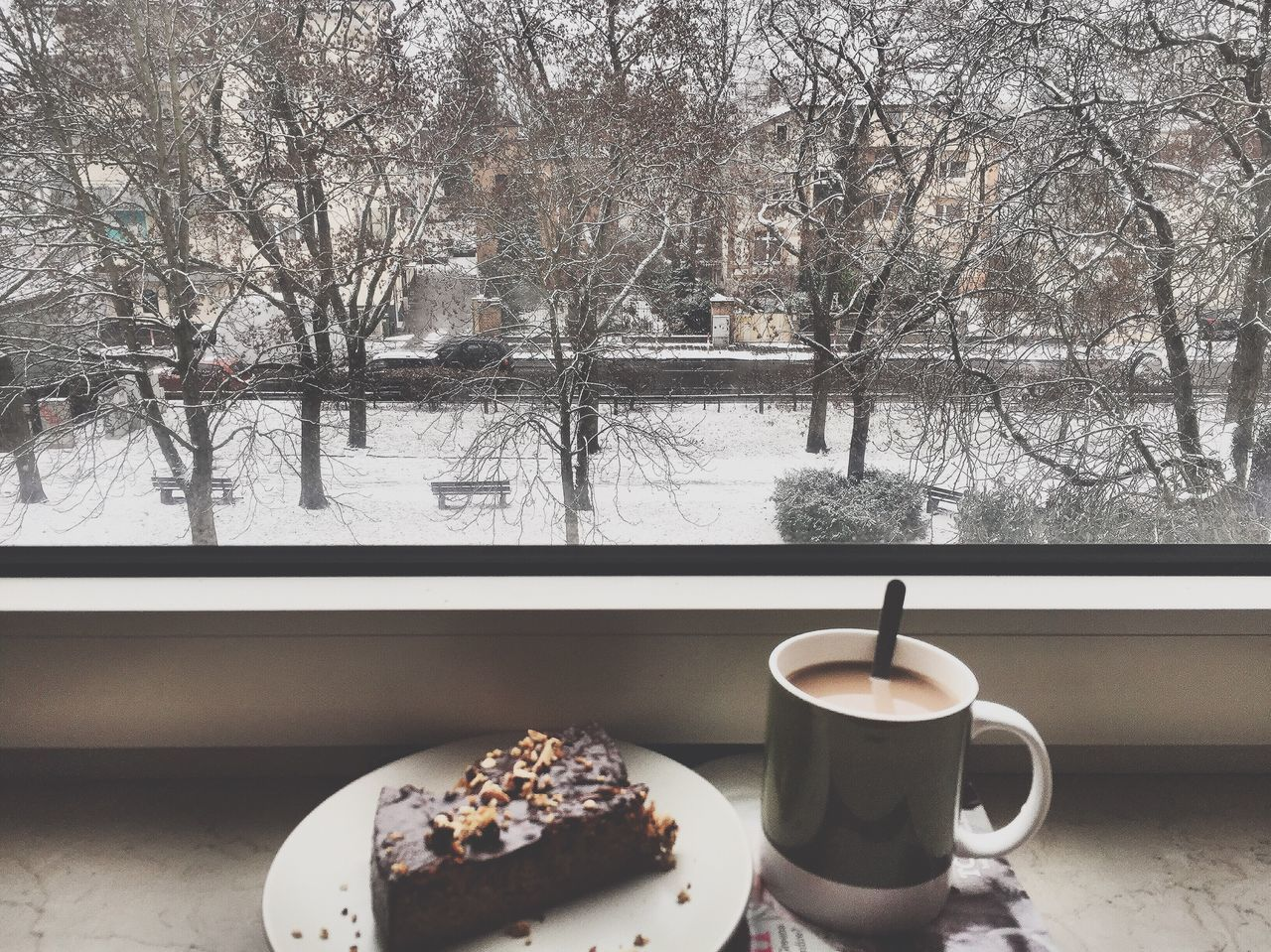 food and drink, freshness, coffee cup, winter, table, coffee - drink, tree, cold temperature, no people, drink, refreshment, food, bare tree, snow, day, indoors, nature, sweet food, ready-to-eat, close-up