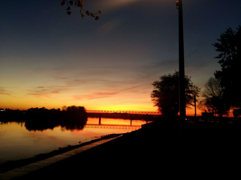 Autumn Fall Sunset Bridge River Slavonski Brod