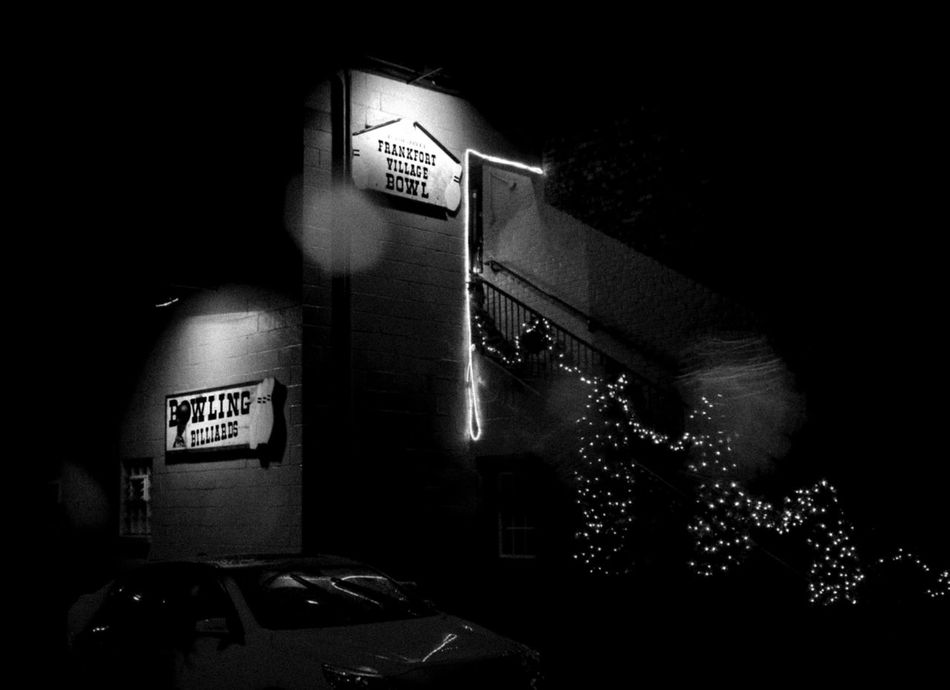 Bowling Night Illuminated Text Night Indoors  No People Exit Sign Bowling Bowling Alley Christmas Lights Rain Raindrops Blackandwhite EyeEmNewHere EyeEmNewHere