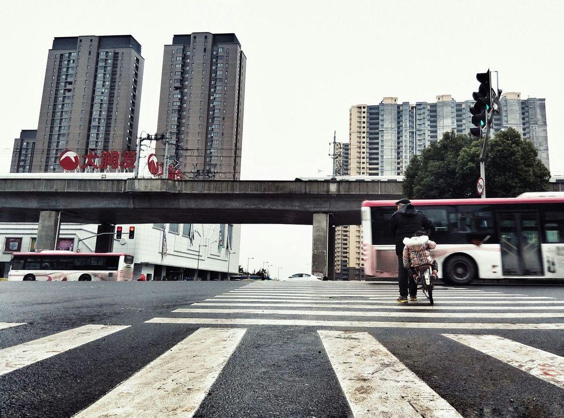 Old Man Bike Child City Edge People Walking  Building Subway Shanghai, China Road
