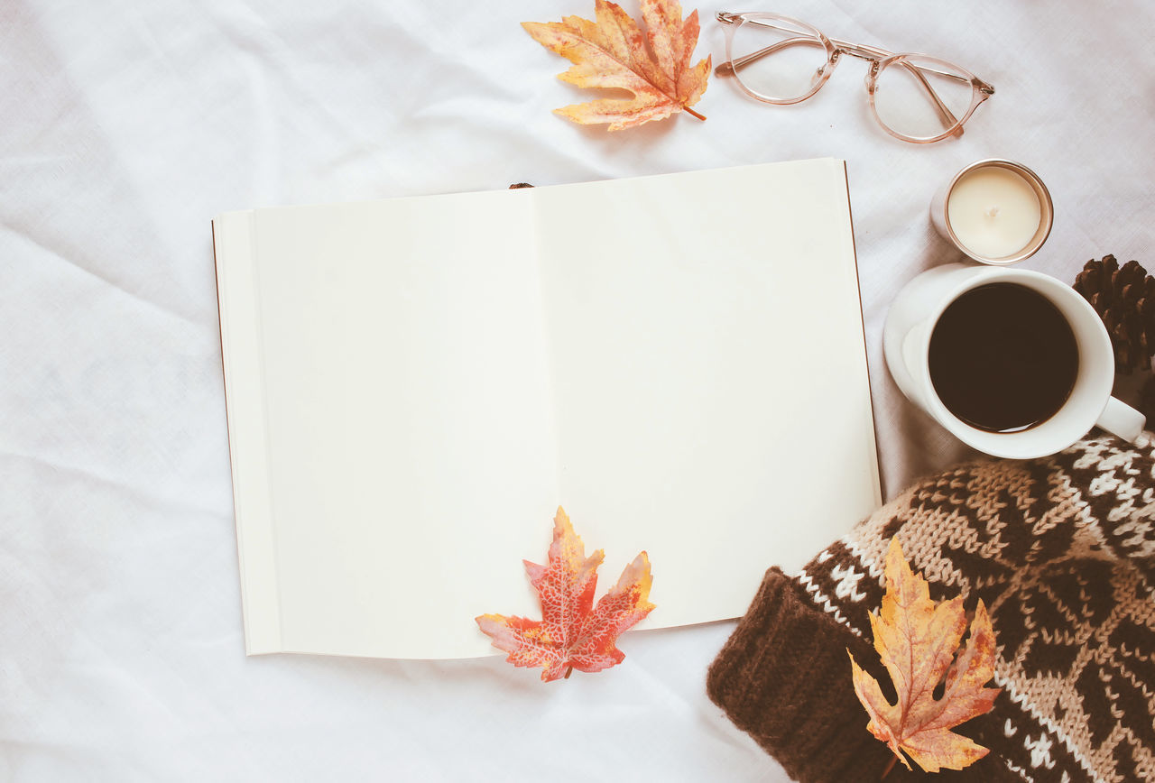 Autumn Autumn Leaves Bed Blank Book Close-up Coffee - Drink Coffee Cup Copy Space Cozy Day Directly Above Eyeglasses  Fall Leaves Fashion Indoors  Knitted Hat Leaf Nature No People Still Life Table Thanksgiving Top View Warm