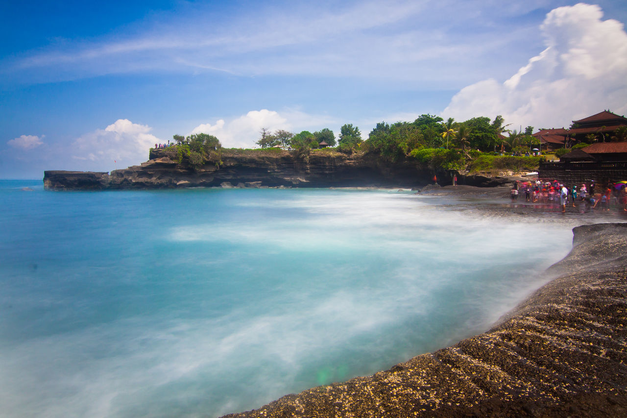 Long Exposure of seascape at Tanah Lot Temple Bali Indonesia Beach Beauty In Nature Blue Cloud - Sky Day Idyllic INDONESIA Landscape Nature No People Outdoors Scenics Sea Sky Tanah Lot Tanah Lot Bali, Indonesia Temple Tourism Tranquil Scene Tranquility Travel Destinations Tree Tropical Climate Vacations Water